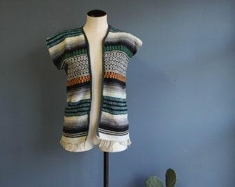 Stripe Woven Cotton Blanket Vest
