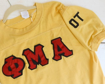 Vintage Distressed Fraternity Tee Thrashed Yellow Number One
