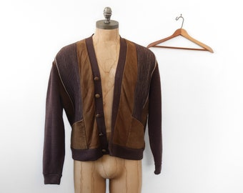 Acrylic Knit & Leather Brown Cardigan Sweater