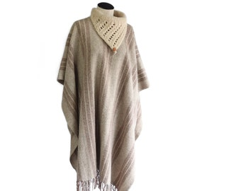 Minimalist Tan Beige Brown Wool Poncho Cape with Crochet Collar