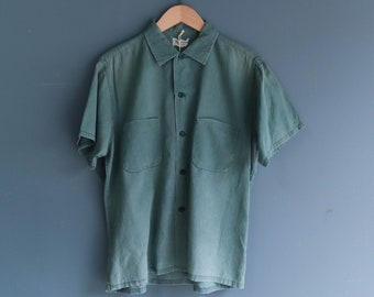 Men's Muted Blue Button Up Short Sleeve Shirt