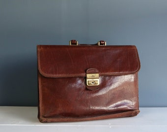 Soft Leather Briefcase Attache' in Brown