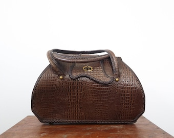Tooled Leather Top Handle Purse