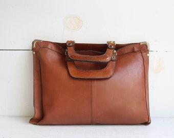 Vintage Leather Briefcase | 1960s Leather Attache Case | 1960s Leather Briefcase | Vintage Leather Bag | Leather Attache