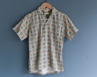 1970's Beige & Green Print Shirt by Rob Roy
