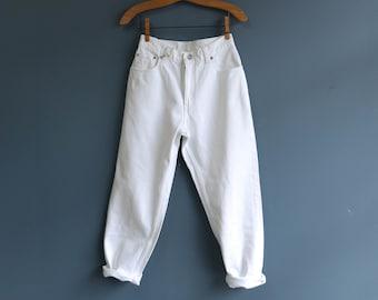 Levis 550 High Waist White Denim Jeans