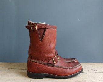 Vintage Leather Snake Boot | Vintage Winter Boot | Sherpa Lined Leather Snake Boot | Men's Leather + Sherpa Snake Boot | Vintage Winter Boot