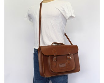 Brown Leather Satchel Messenger Bag