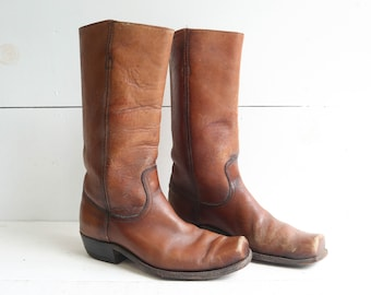 Black Label Frye Boots in Brown Leather