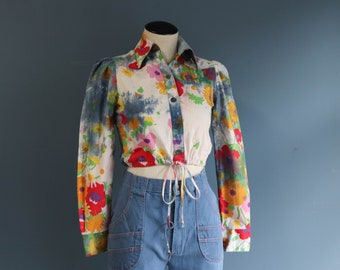 Water Color Floral All Cotton Long Sleeve Crop Top