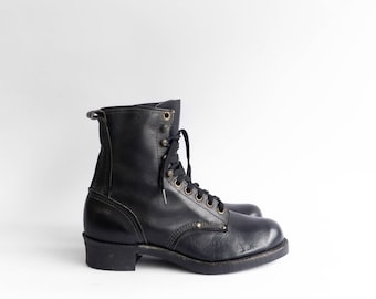 Vintage Black Leather Work Boots Lace Up Packer Style Size 10 EEEE