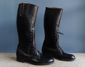Vintage Men's Black Leather Equestrian Riding Boots