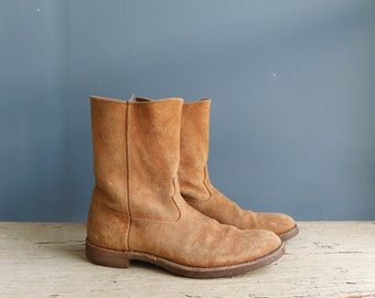 Vintage Justin Suede Boots | Justin Tan Suede Boots | Vintage Western Style Light Brown Suede Boots by Justin | Justin Boots | Suede Boots