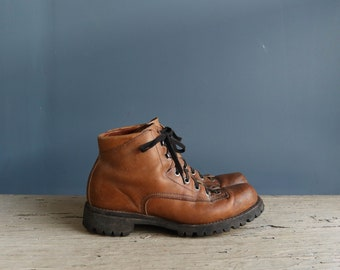 Vintage Hiking Boots | 1970s Unisex Leather Hiking Boots | Vintage Leather Hiking Boots | Brown Leather Hiking Boots