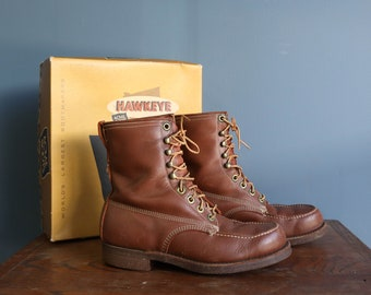 Men's Vintage Work Boots Acme Hawkeye Cork Sole Lace Up Ankle Boots