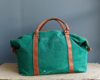 Vintage Weathered Green Canvas and Leather Duffle Bag - Vintage Canvas and Leather Overnight Bag - Vintage Canvas and Leather Carry-On Bag