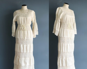 Vintage Lace and Cotton Maxi Dress Boho Hippie Dress Wedding Gown