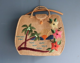 Vintage Straw Beach Tote Palm Trees Beach Flowers