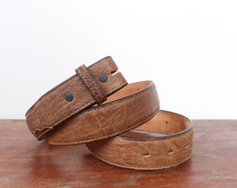 Tony Lama Textured Brown Leather Belt Strap