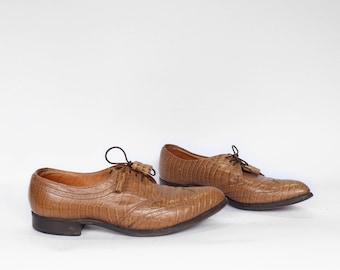 Vintage Men's Mock Croc Oxford Shoe | Vintage Leather Crocodile Embossed Oxford | Vintage Men's Oxford Shoe