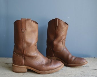 Brown Leather Ranch Boots Pecos Style Work Boots