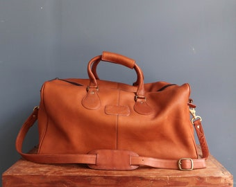 Brown Columbian Leather Duffle Travel Bag