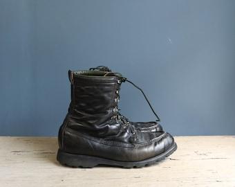 Vintage Black Leather Work Boot | Vintage Men's Lace Up Work Boot | Vintage Ted WIlliams Black Lace Up Work Boot | 1960s Men's Work Boot