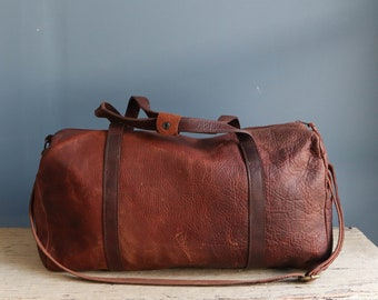 Vintage Leather Duffel Bag | Distressed Leather Duffel Bag | Leather Overnight Bag | Leather Carry On Bag | Vintage Leather Overnight Bag