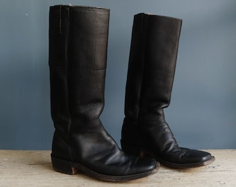 Black Leather Riding Boots | Men's Black Leather Riding Boot | Vintage Black Leather Men's Riding Boot Made in Mexico