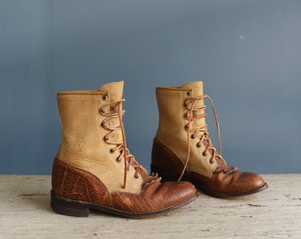 Vintage Justin Ropers | Two-Tone Leather Justin Ropers