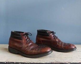 Vintage Red Wing Chukka Boots Short Work Boots with Black Tops