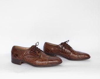 Vintage Men's Dress Shoe | Men's Exotic Leather Dress Shoe | Vintage Men's Brown Leather Dress Shoe by Bravo