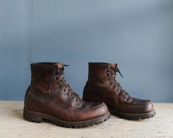 Vintage Brown Leather Work Boots | Men's Brown Leather Work Boot | Vintage Double Wear Men's Work Boot | Vintage Men's Leather Utility Boot