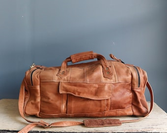 Vintage Brown Colombian Leather Duffel Bag | Vintage Leather Duffel Bag | Vintage Leather Overnight Bag | Vintage Leather Carry-On Bag