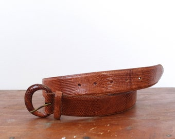 Vintage Polo Ralph Lauren Brown Lizard Belt Made in USA