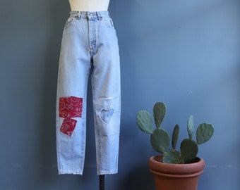 LEE High Waist Jeans with Bandana Patches