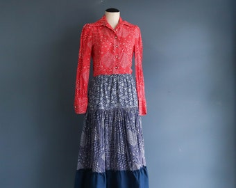 Vintage Bandana Prairie Dress Red and Indigo Long Sleeve Dress
