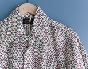 All Cotton Button Up Shirt with Rust Color Print