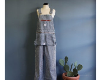 Pointer Brand Blue Stripe Denim Overalls with Zip On Utility Apron