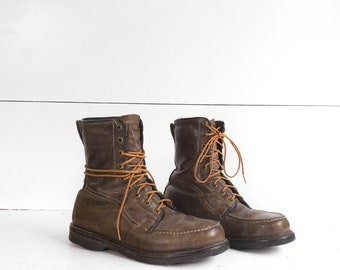 Men's Vintage Sears Work Boots Moccasin Toe Lace Up Sport Boot
