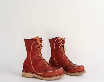 Vintage Hudson Bay Herters Boot | Vintage Tall Leather Lace-Up Work Boot | Brown Leather Moc Toe  Boot | Tall Leather Lace-Up Work Boot