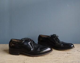 Vintage Men's Black Leather Oxford Shoes | Vintage Men's Black Oxford Dress Shoes | Vintage Oxford Lace Up Shoes | Cadillac Shoes for Men