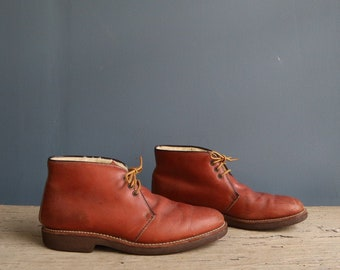 Vintage Work Boot | Leather Work Boot | Leather Insulated Work Boot | Vintage Brown Leather Sherpa-Lined Work Boot