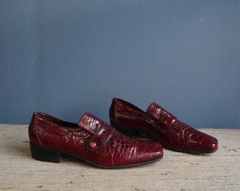 Vintage Men's Leather Dress Loafers   Men's Maroon Exotic Leather Shoes   Vintage Men's Exotic Leather Slip-On Dress Shoes by Palladio