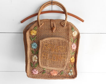 Raffia Straw Souvenir Market Tote with Floral Design 'Aloha Hawaii'
