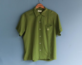 1950s Penny's TownCraft Rockabilly Button Up Green Pocket Shirt