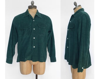 Vintage Green Corduroy Loop Collar Long Sleeve Button Down Shirt