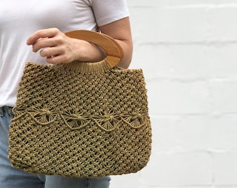 Woven Green Straw Wooden Top Handle Tote