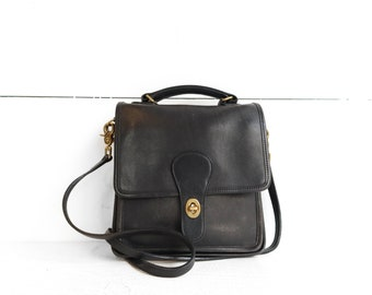 COACH 9930 Willis Murphy Bag in Black Leather