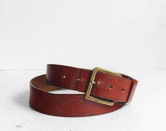 Basic Brown Stirrup Leather Belt with Solid Brass Buckle size 40